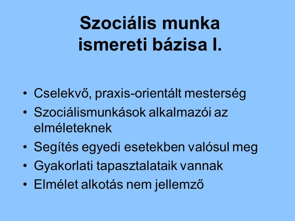 Szociális munka ismereti bázisa I. Cselekvő, praxis-orientált mesterség Szociálismunkások alkalmazói az elméleteknek Segítés egyedi esetekben valósul