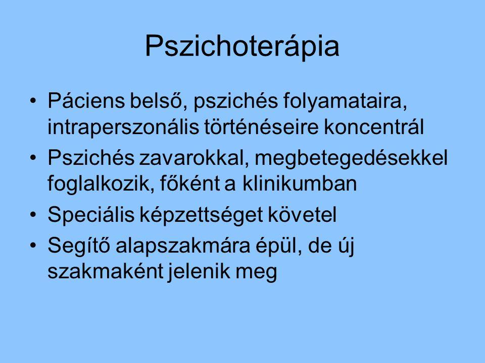 Pszichoterápia Páciens belső, pszichés folyamataira, intraperszonális történéseire koncentrál Pszichés zavarokkal, megbetegedésekkel foglalkozik, főké
