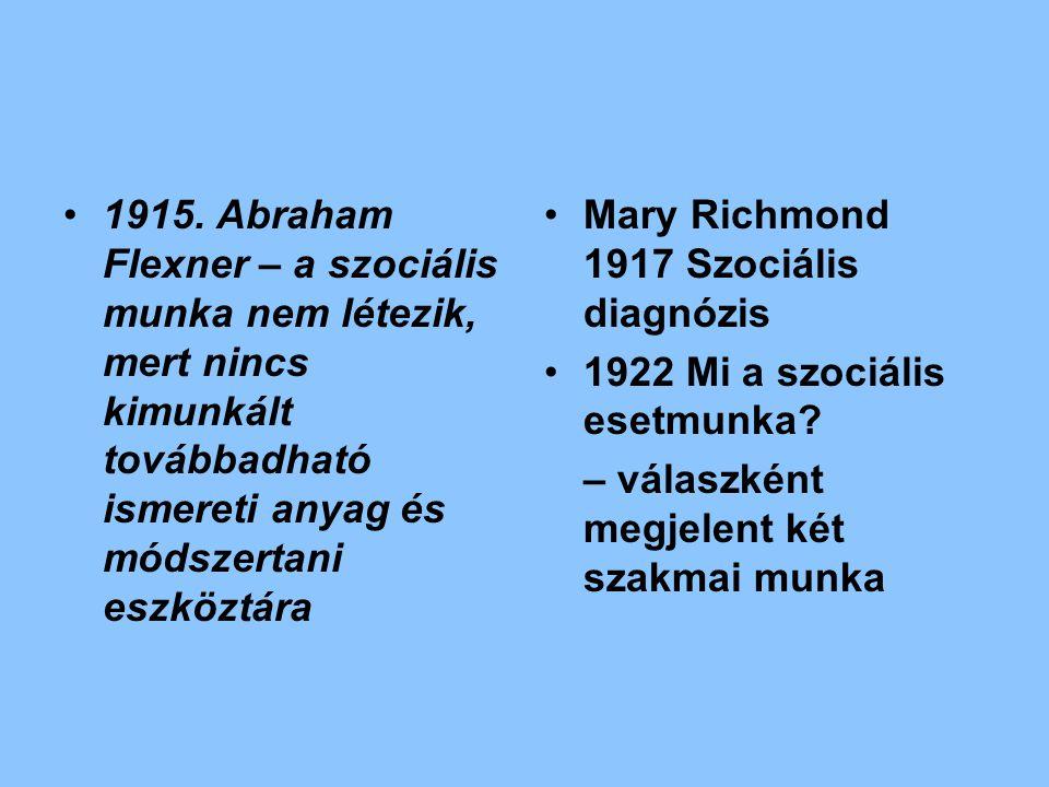 1915. Abraham Flexner – a szociális munka nem létezik, mert nincs kimunkált továbbadható ismereti anyag és módszertani eszköztára Mary Richmond 1917 S