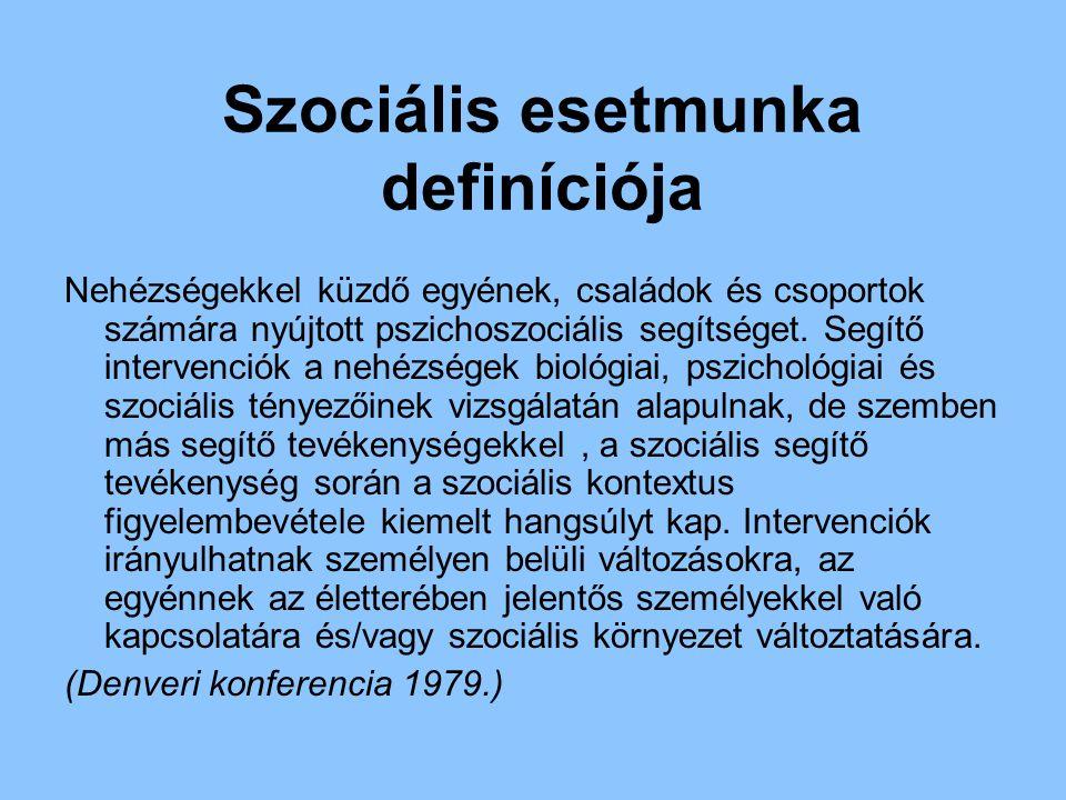 Szociális esetmunka definíciója Nehézségekkel küzdő egyének, családok és csoportok számára nyújtott pszichoszociális segítséget. Segítő intervenciók a