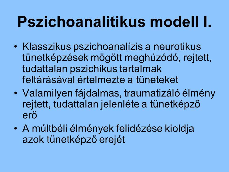 Pszichoanalitikus modell I. Klasszikus pszichoanalízis a neurotikus tünetképzések mögött meghúzódó, rejtett, tudattalan pszichikus tartalmak feltárásá