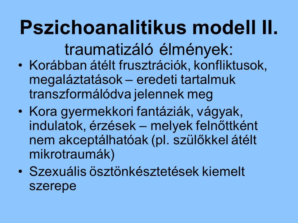 Pszichoanalitikus modell II. traumatizáló élmények: Korábban átélt frusztrációk, konfliktusok, megaláztatások – eredeti tartalmuk transzformálódva jel