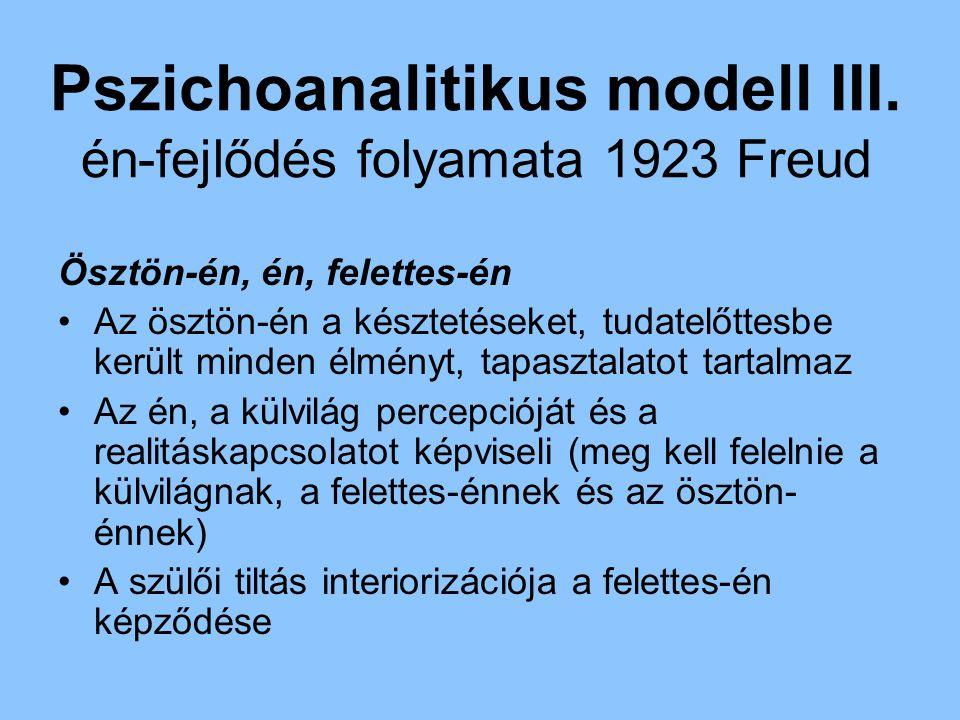 Pszichoanalitikus modell III. én-fejlődés folyamata 1923 Freud Ösztön-én, én, felettes-én Az ösztön-én a késztetéseket, tudatelőttesbe került minden é