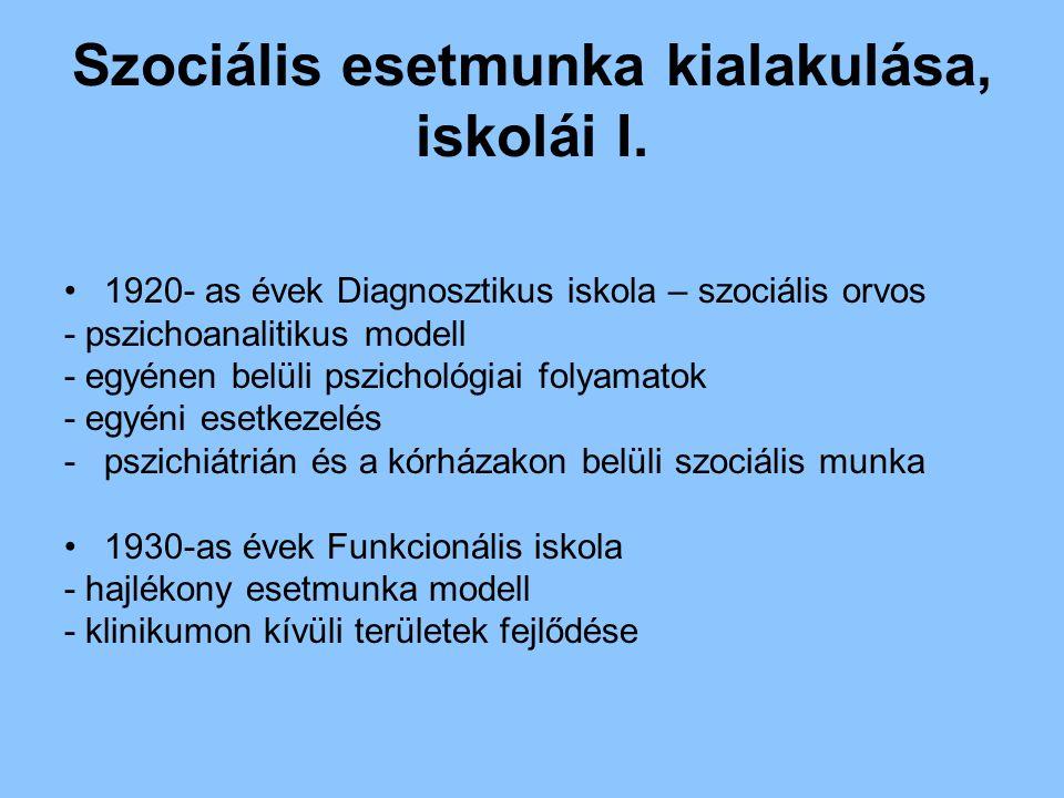 Szociális esetmunka kialakulása, iskolái I. 1920- as évek Diagnosztikus iskola – szociális orvos - pszichoanalitikus modell - egyénen belüli pszicholó