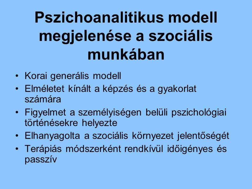 Pszichoanalitikus modell megjelenése a szociális munkában Korai generális modell Elméletet kínált a képzés és a gyakorlat számára Figyelmet a személyi