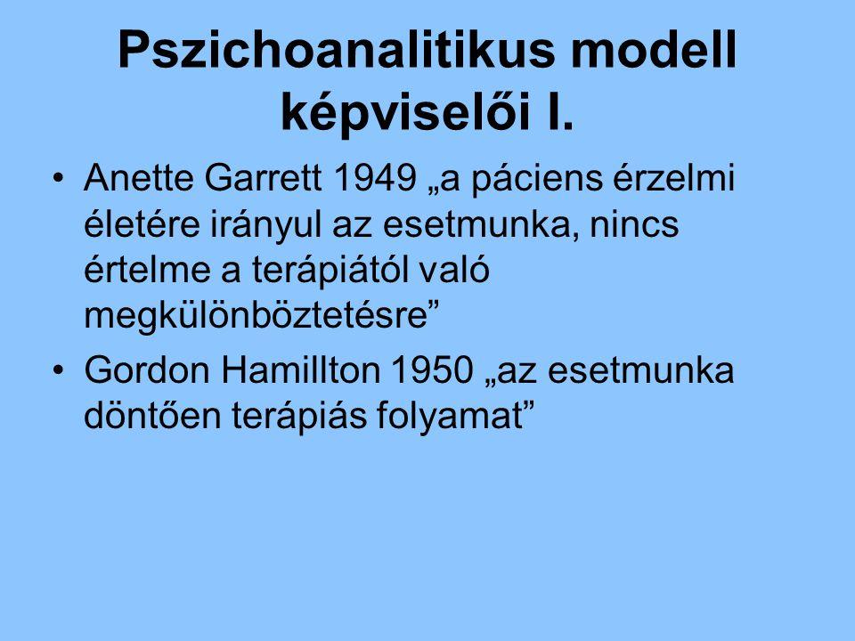 """Pszichoanalitikus modell képviselői I. Anette Garrett 1949 """"a páciens érzelmi életére irányul az esetmunka, nincs értelme a terápiától való megkülönbö"""