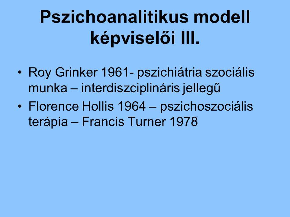Pszichoanalitikus modell képviselői III. Roy Grinker 1961- pszichiátria szociális munka – interdiszciplináris jellegű Florence Hollis 1964 – pszichosz