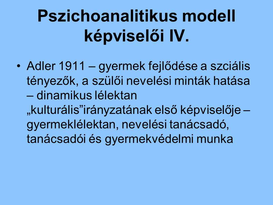 """Pszichoanalitikus modell képviselői IV. Adler 1911 – gyermek fejlődése a szciális tényezők, a szülői nevelési minták hatása – dinamikus lélektan """"kult"""