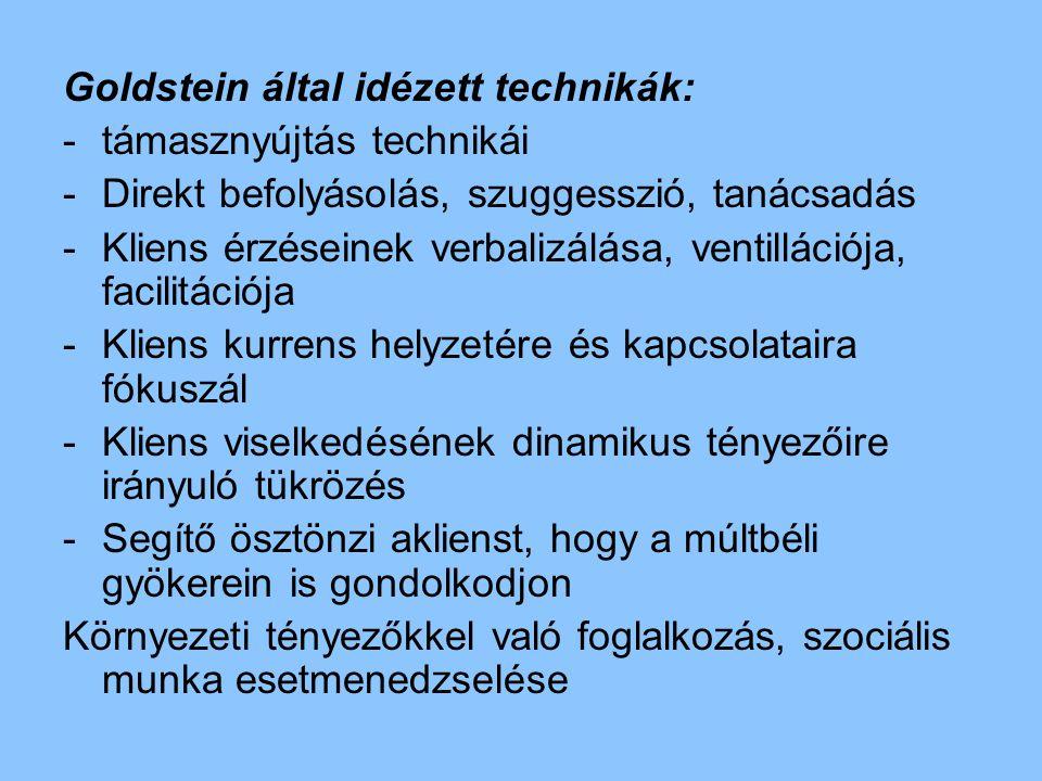 Goldstein által idézett technikák: -támasznyújtás technikái -Direkt befolyásolás, szuggesszió, tanácsadás -Kliens érzéseinek verbalizálása, ventilláci