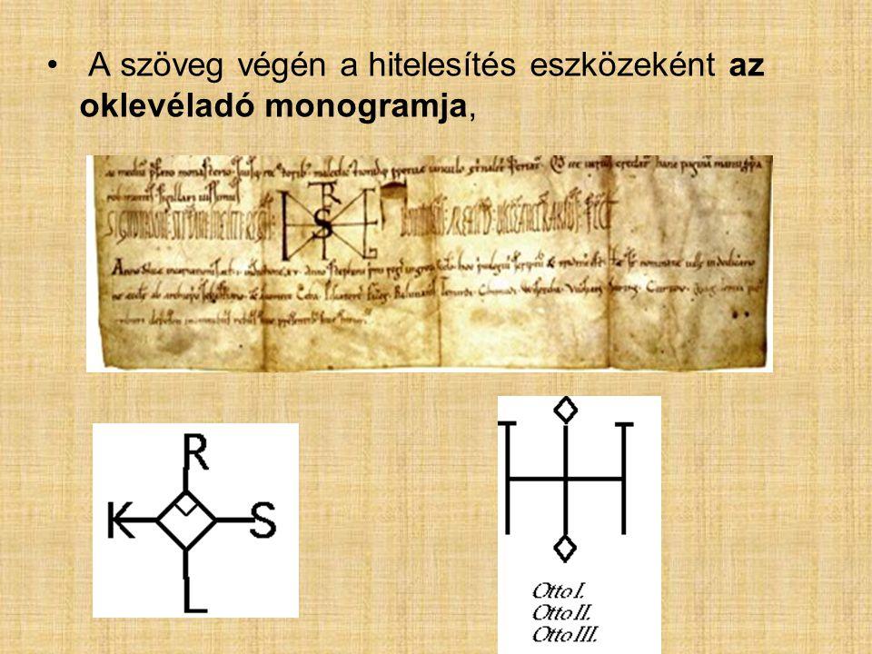 az oklevél kiállítását ellenőrző személyek sajátos jele (signum recognitionis)