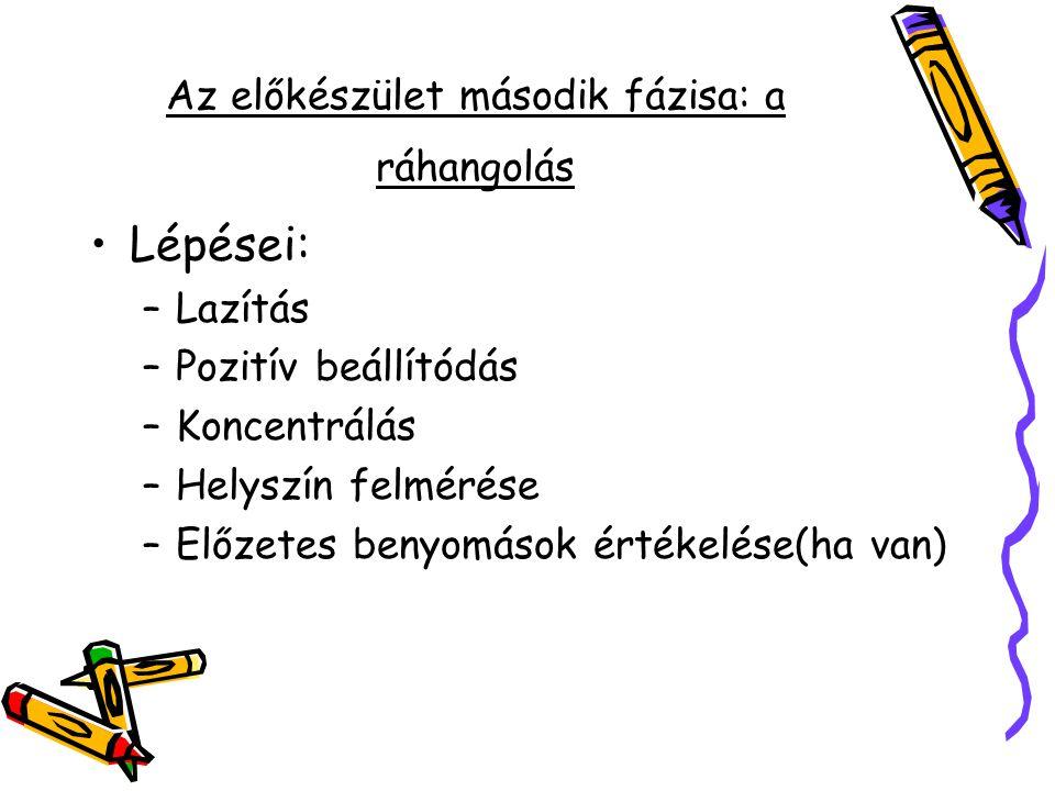 Az előkészület második fázisa: a ráhangolás Lépései: –Lazítás –Pozitív beállítódás –Koncentrálás –Helyszín felmérése –Előzetes benyomások értékelése(h