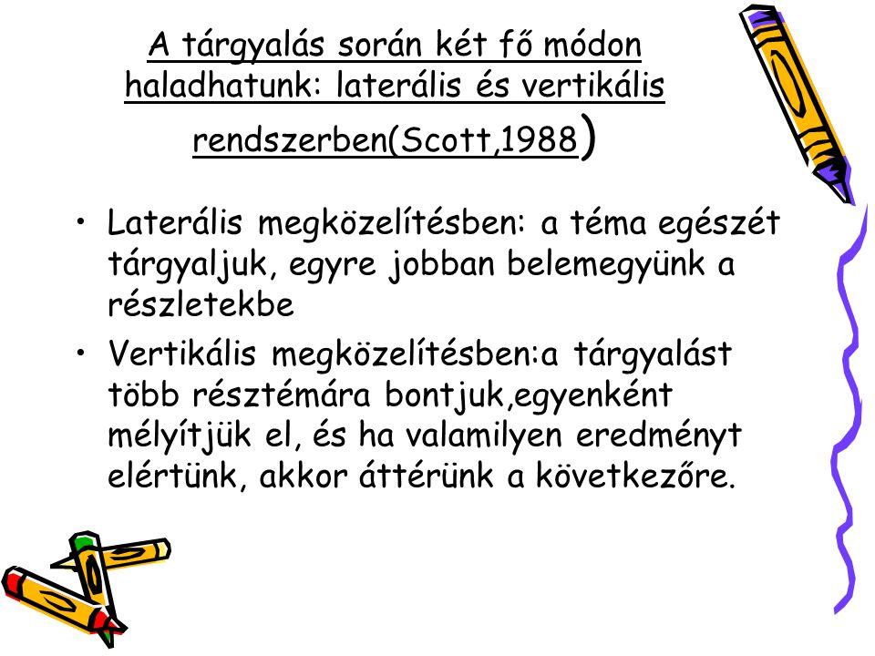 A tárgyalás során két fő módon haladhatunk: laterális és vertikális rendszerben(Scott,1988 ) Laterális megközelítésben: a téma egészét tárgyaljuk, egy