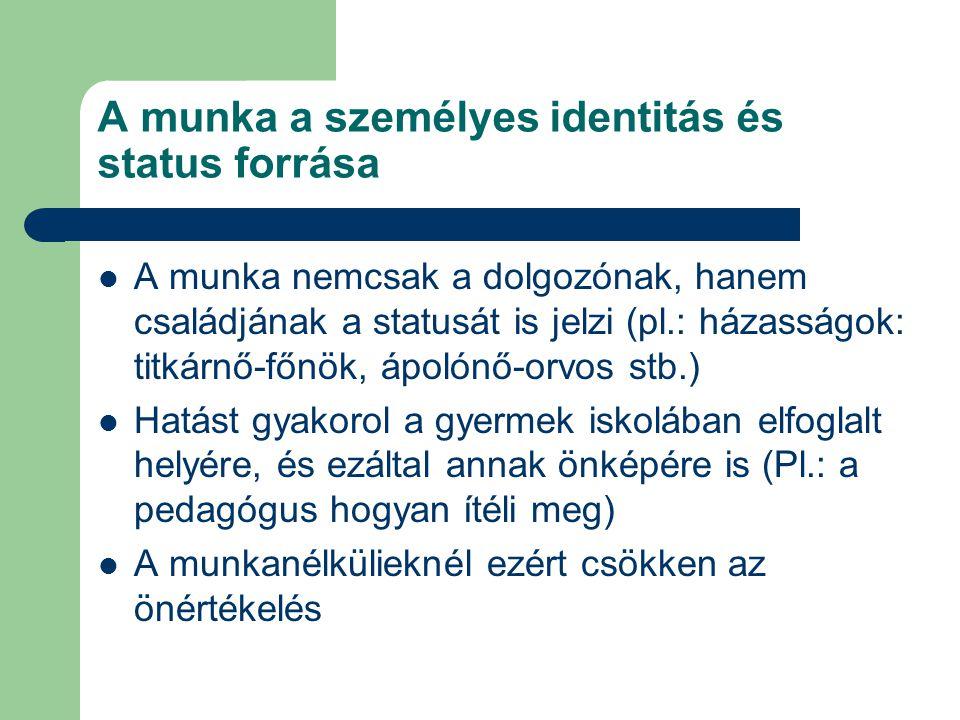 A munka a személyes identitás és status forrása A munka nemcsak a dolgozónak, hanem családjának a statusát is jelzi (pl.: házasságok: titkárnő-főnök,