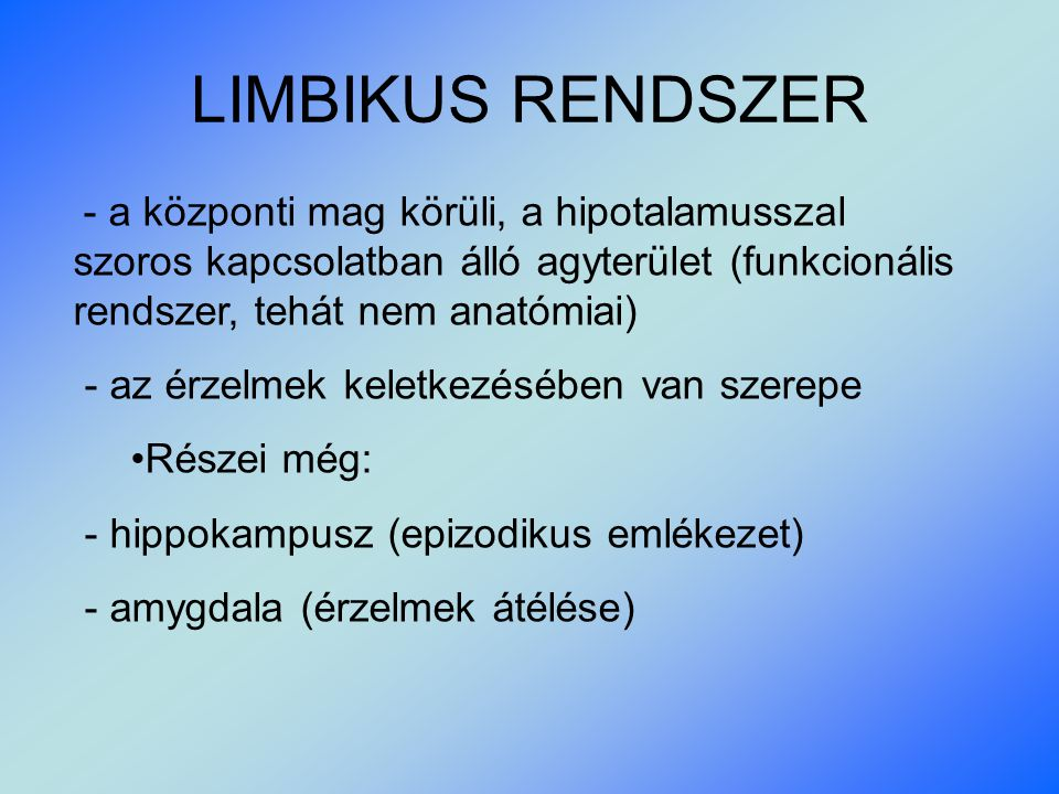 LIMBIKUS RENDSZER - a központi mag körüli, a hipotalamusszal szoros kapcsolatban álló agyterület (funkcionális rendszer, tehát nem anatómiai) - az érzelmek keletkezésében van szerepe Részei még: - hippokampusz (epizodikus emlékezet) - amygdala (érzelmek átélése)