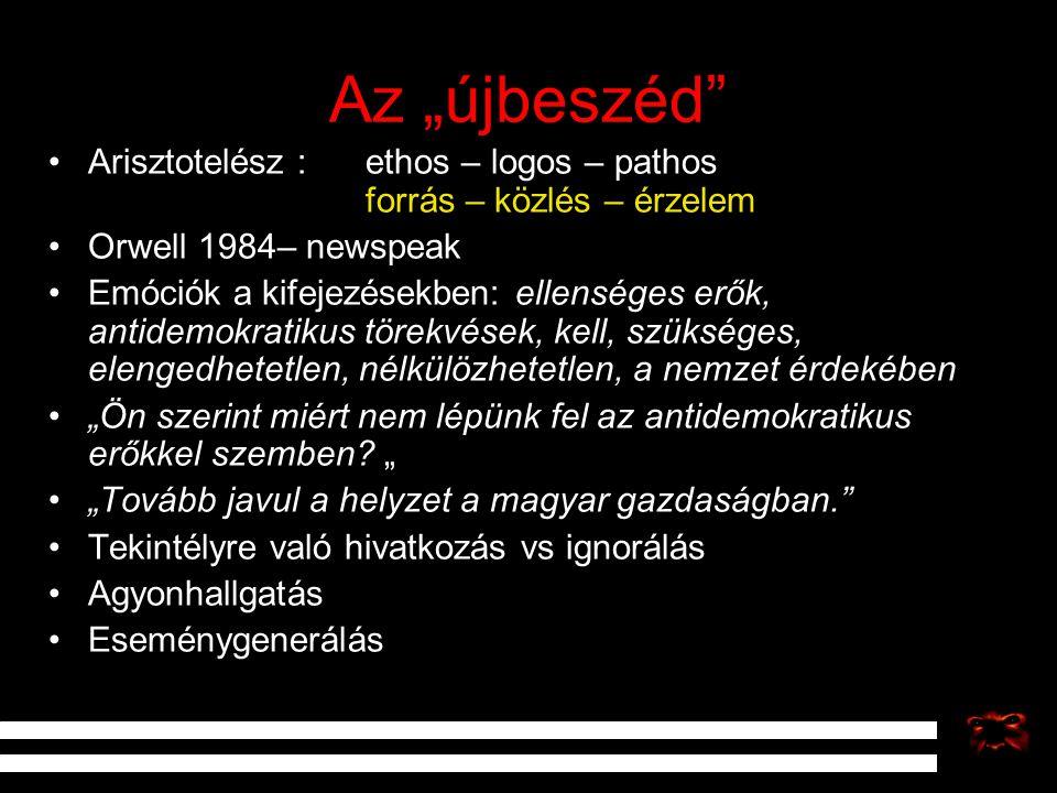 """Az """"újbeszéd"""" Arisztotelész : ethos – logos – pathos forrás – közlés – érzelem Orwell 1984– newspeak Emóciók a kifejezésekben: ellenséges erők, antide"""