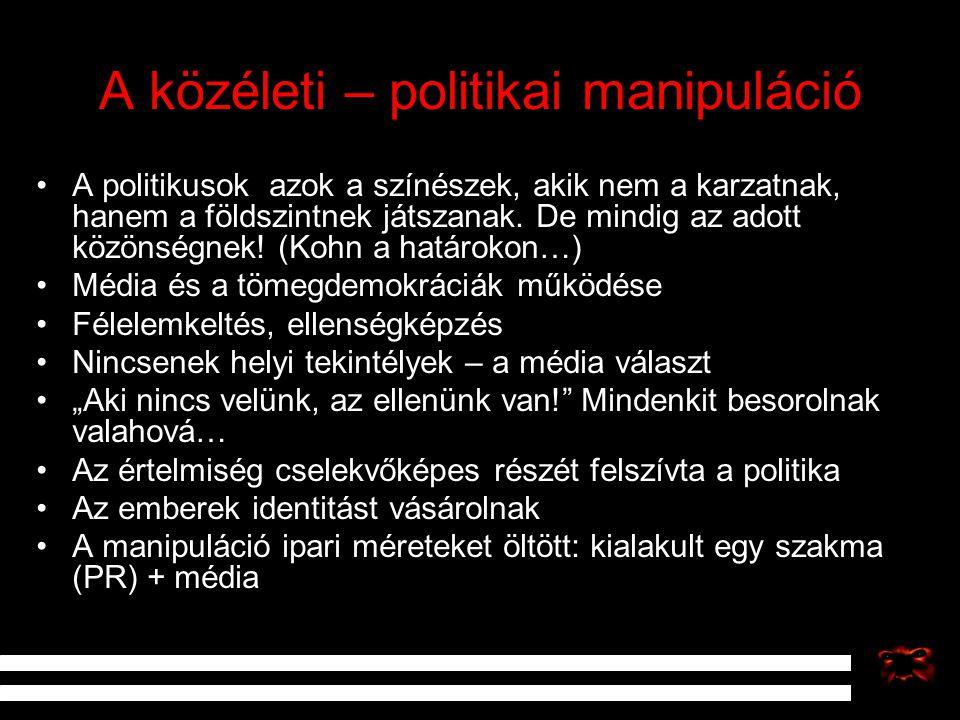 A közéleti – politikai manipuláció A politikusok azok a színészek, akik nem a karzatnak, hanem a földszintnek játszanak. De mindig az adott közönségne