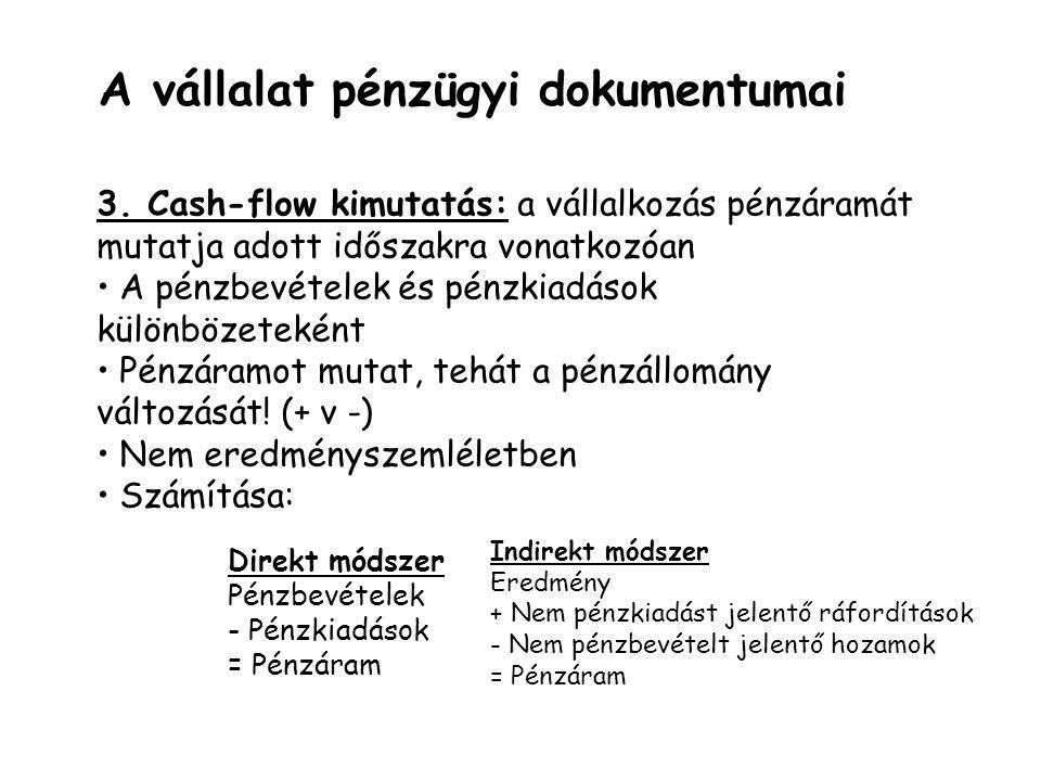 A vállalat pénzügyi dokumentumai 3. Cash-flow kimutatás: a vállalkozás pénzáramát mutatja adott időszakra vonatkozóan A pénzbevételek és pénzkiadások