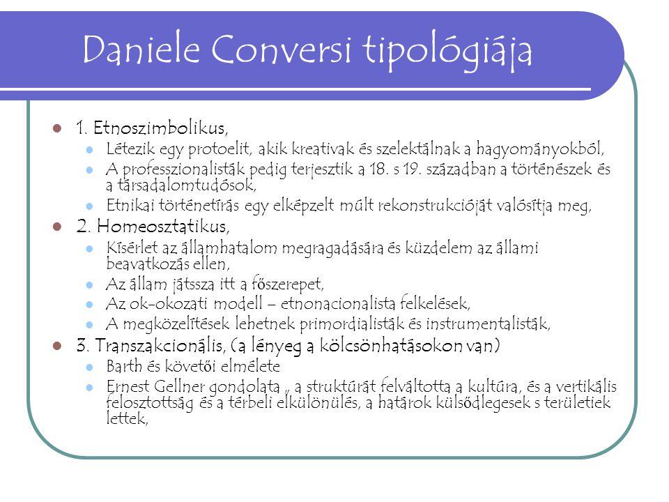 Daniele Conversi tipológiája 1. Etnoszimbolikus, Létezik egy protoelit, akik kreativak és szelektálnak a hagyományokból, A professzionalisták pedig te