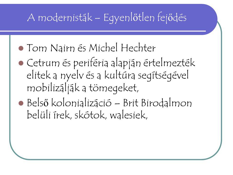 A modernisták – Egyenl ő tlen fej ő dés Tom Nairn és Michel Hechter Cetrum és periféria alapján értelmezték elitek a nyelv és a kultúra segítségével m