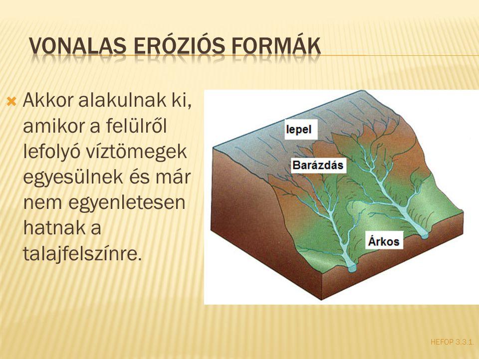  Akkor alakulnak ki, amikor a felülről lefolyó víztömegek egyesülnek és már nem egyenletesen hatnak a talajfelszínre. HEFOP 3.3.1.