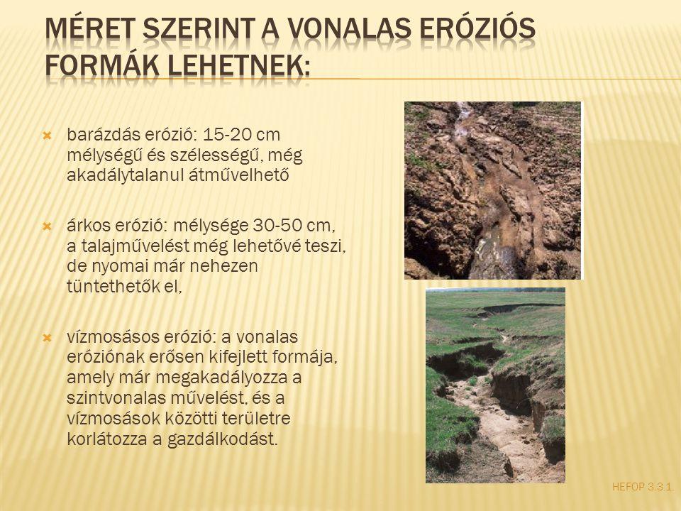  barázdás erózió: 15-20 cm mélységű és szélességű, még akadálytalanul átművelhető  árkos erózió: mélysége 30-50 cm, a talajművelést még lehetővé tes