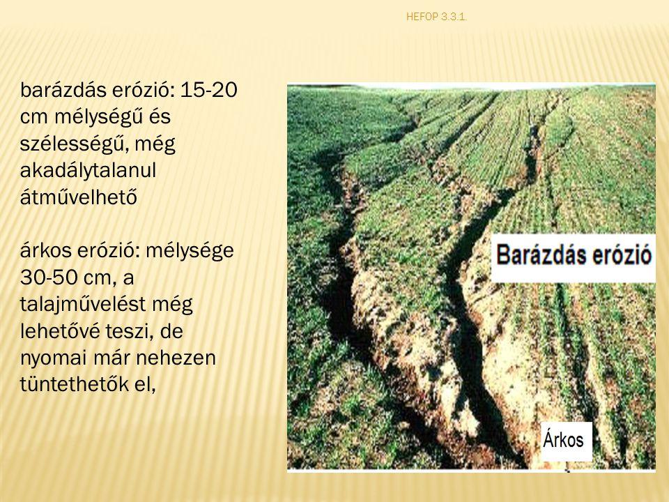 barázdás erózió: 15-20 cm mélységű és szélességű, még akadálytalanul átművelhető árkos erózió: mélysége 30-50 cm, a talajművelést még lehetővé teszi, de nyomai már nehezen tüntethetők el,