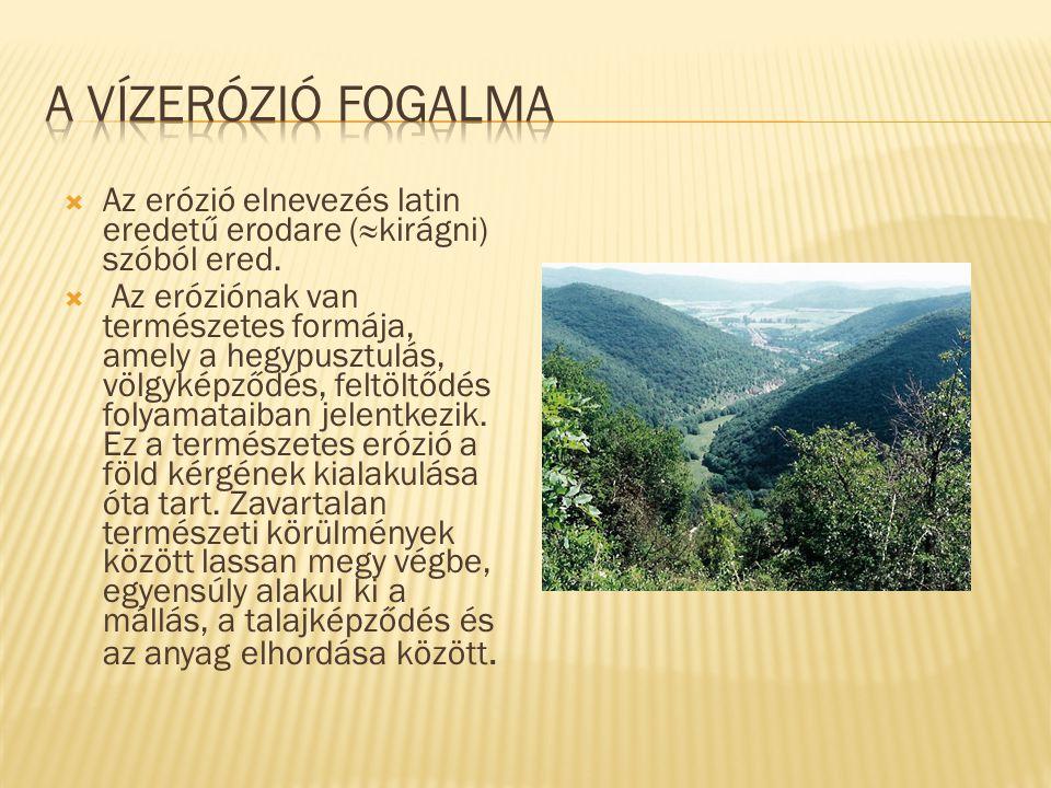  Az erózió elnevezés latin eredetű erodare (≈kirágni) szóból ered.  Az eróziónak van természetes formája, amely a hegypusztulás, völgyképződés, felt