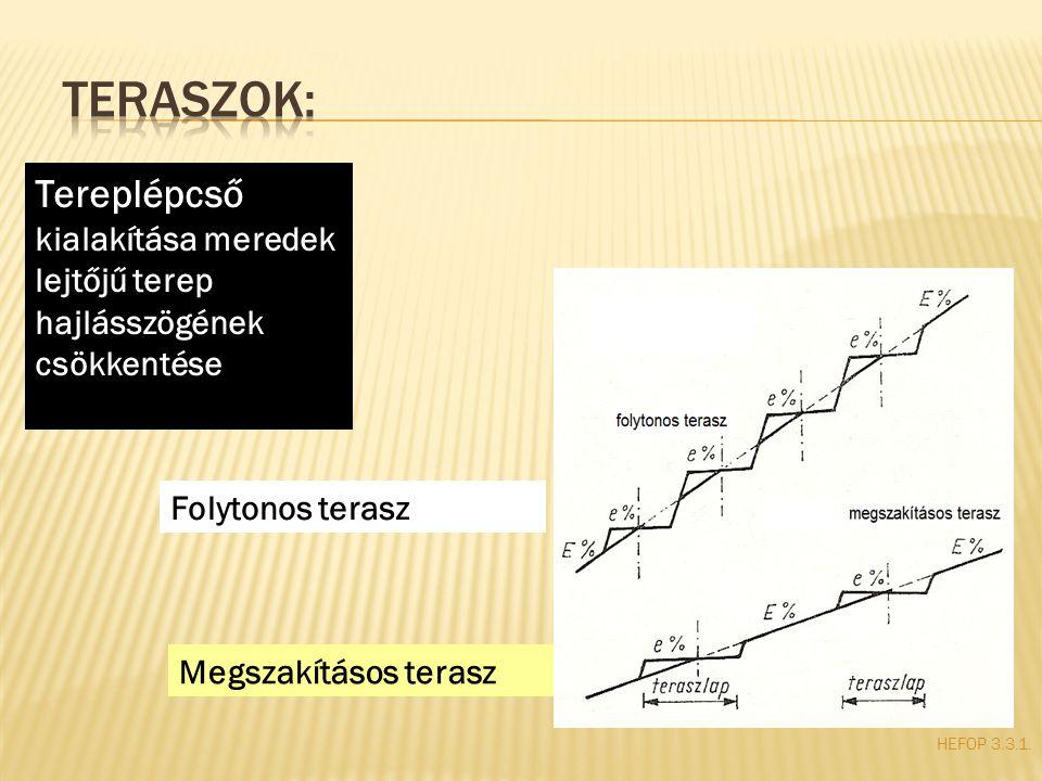 HEFOP 3.3.1. Tereplépcső kialakítása meredek lejtőjű terep hajlásszögének csökkentése Folytonos terasz Megszakításos terasz