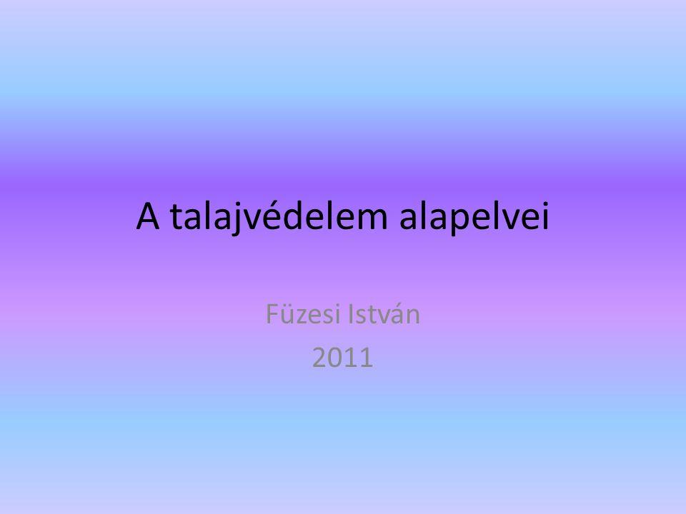 A talajvédelem alapelvei Füzesi István 2011