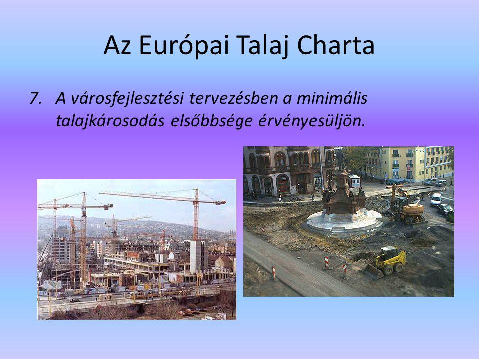 Az Európai Talaj Charta 7.A városfejlesztési tervezésben a minimális talajkárosodás elsőbbsége érvényesüljön.
