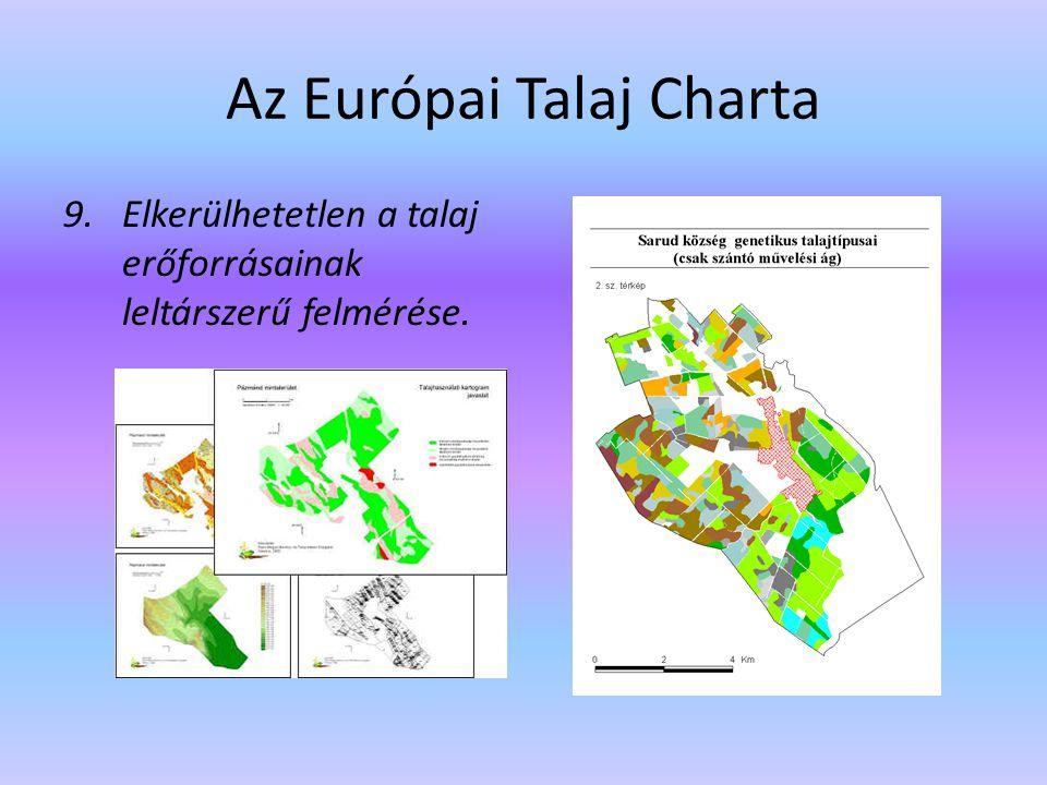 Az Európai Talaj Charta 9.Elkerülhetetlen a talaj erőforrásainak leltárszerű felmérése.