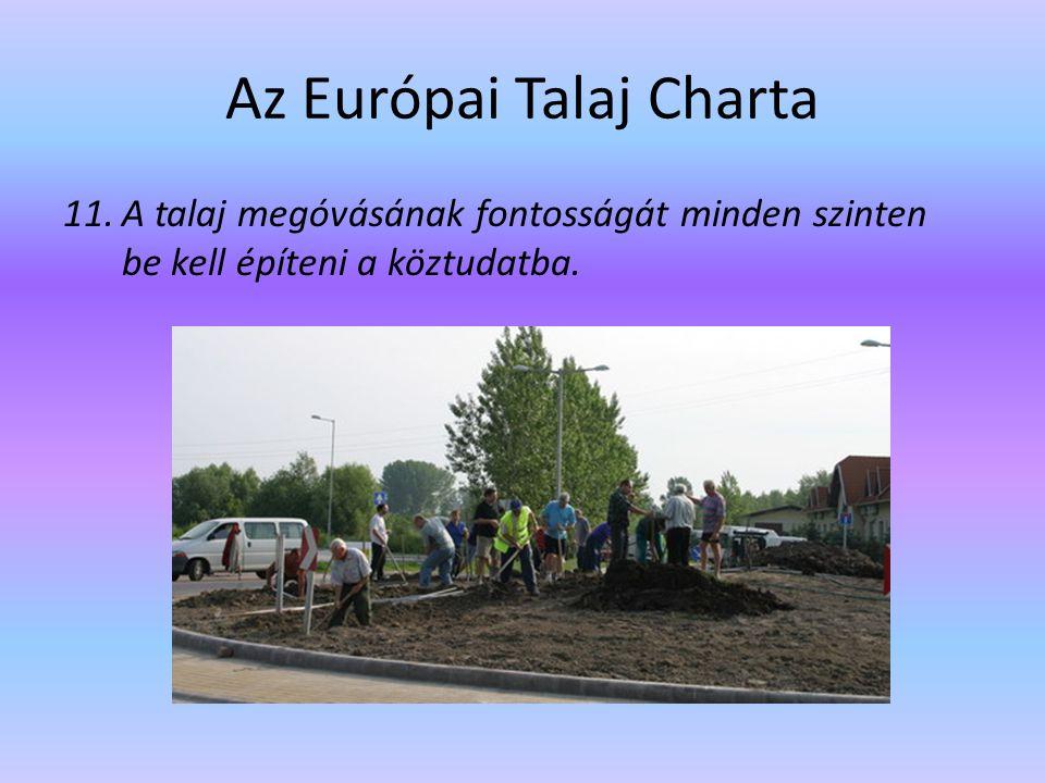 Az Európai Talaj Charta 11.A talaj megóvásának fontosságát minden szinten be kell építeni a köztudatba.