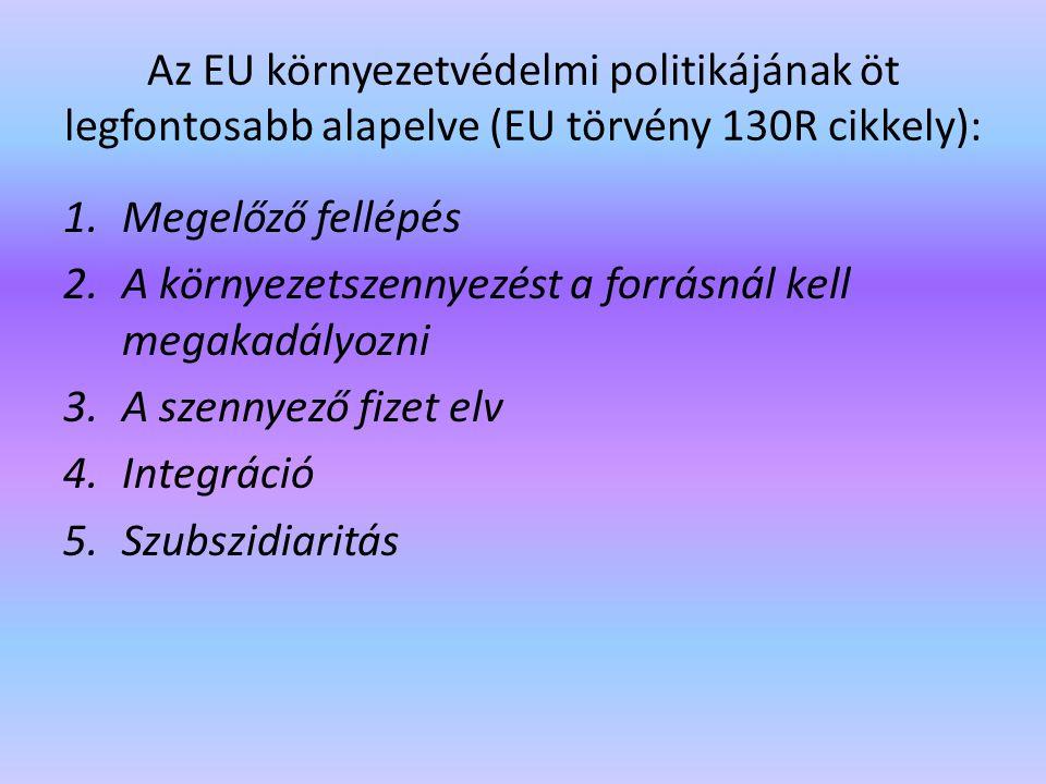 Az EU környezetvédelmi politikájának öt legfontosabb alapelve (EU törvény 130R cikkely): 1.Megelőző fellépés 2.A környezetszennyezést a forrásnál kell