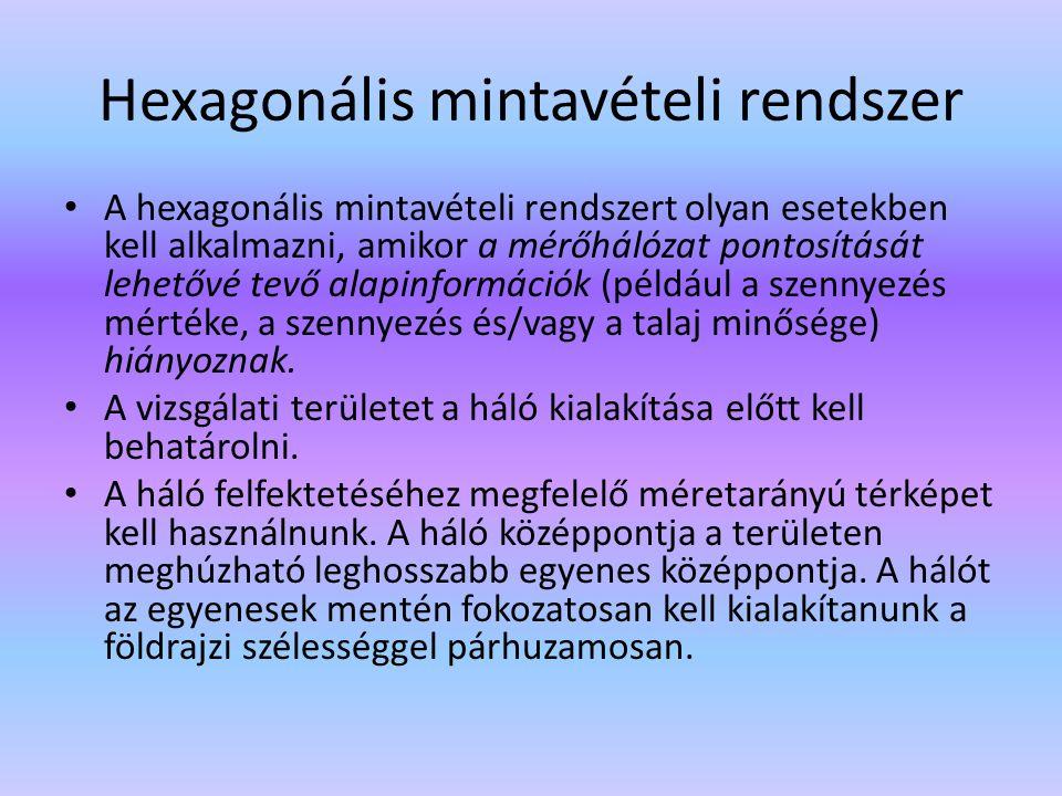 Hexagonális mintavételi rendszer A hexagonális mintavételi rendszert olyan esetekben kell alkalmazni, amikor a mérőhálózat pontosítását lehetővé tevő