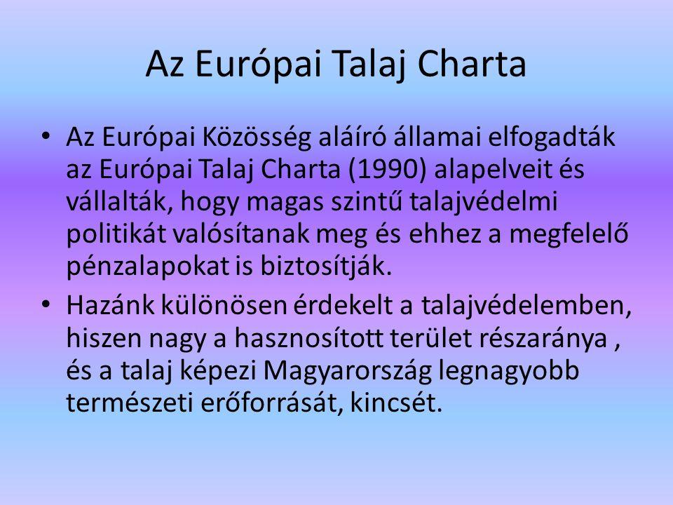 Az Európai Talaj Charta Az Európai Közösség aláíró államai elfogadták az Európai Talaj Charta (1990) alapelveit és vállalták, hogy magas szintű talajv