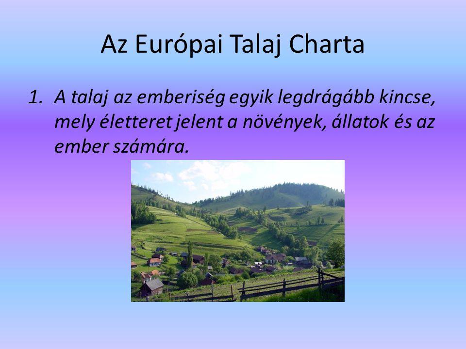 Az Európai Talaj Charta 1.A talaj az emberiség egyik legdrágább kincse, mely életteret jelent a növények, állatok és az ember számára.