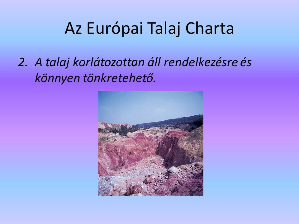 Az Európai Talaj Charta 3.Az ipari társadalmak a talajt ipari és mezőgazdasági célokra egyaránt hasznosítják.