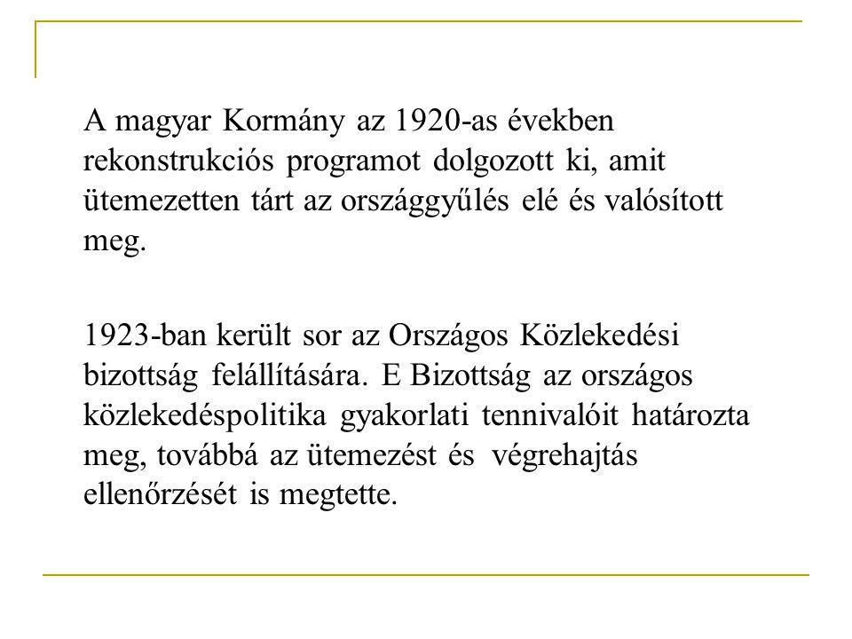 A magyar Kormány az 1920-as években rekonstrukciós programot dolgozott ki, amit ütemezetten tárt az országgyűlés elé és valósított meg. 1923-ban kerül
