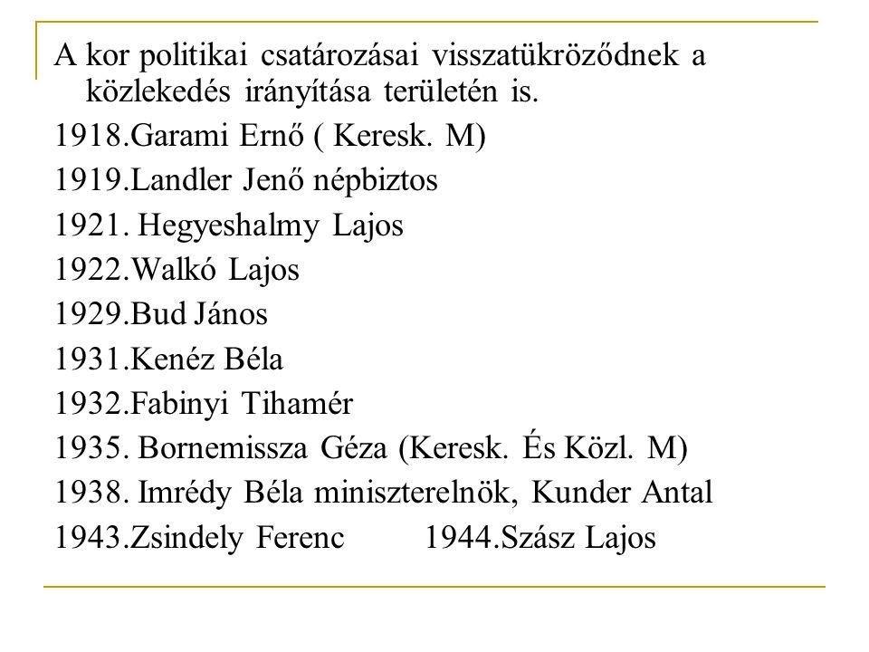 A kor politikai csatározásai visszatükröződnek a közlekedés irányítása területén is. 1918.Garami Ernő ( Keresk. M) 1919.Landler Jenő népbiztos 1921. H