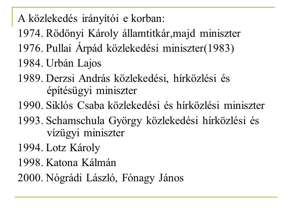 A közlekedés irányítói e korban: 1974. Rödönyi Károly államtitkár,majd miniszter 1976. Pullai Árpád közlekedési miniszter(1983) 1984. Urbán Lajos 1989