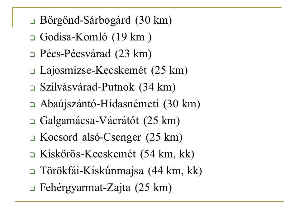  Börgönd-Sárbogárd (30 km)  Godisa-Komló (19 km )  Pécs-Pécsvárad (23 km)  Lajosmizse-Kecskemét (25 km)  Szilvásvárad-Putnok (34 km)  Abaújszántó-Hidasnémeti (30 km)  Galgamácsa-Vácrátót (25 km)  Kocsord alsó-Csenger (25 km)  Kiskőrös-Kecskemét (54 km, kk)  Törökfái-Kiskúnmajsa (44 km, kk)  Fehérgyarmat-Zajta (25 km)