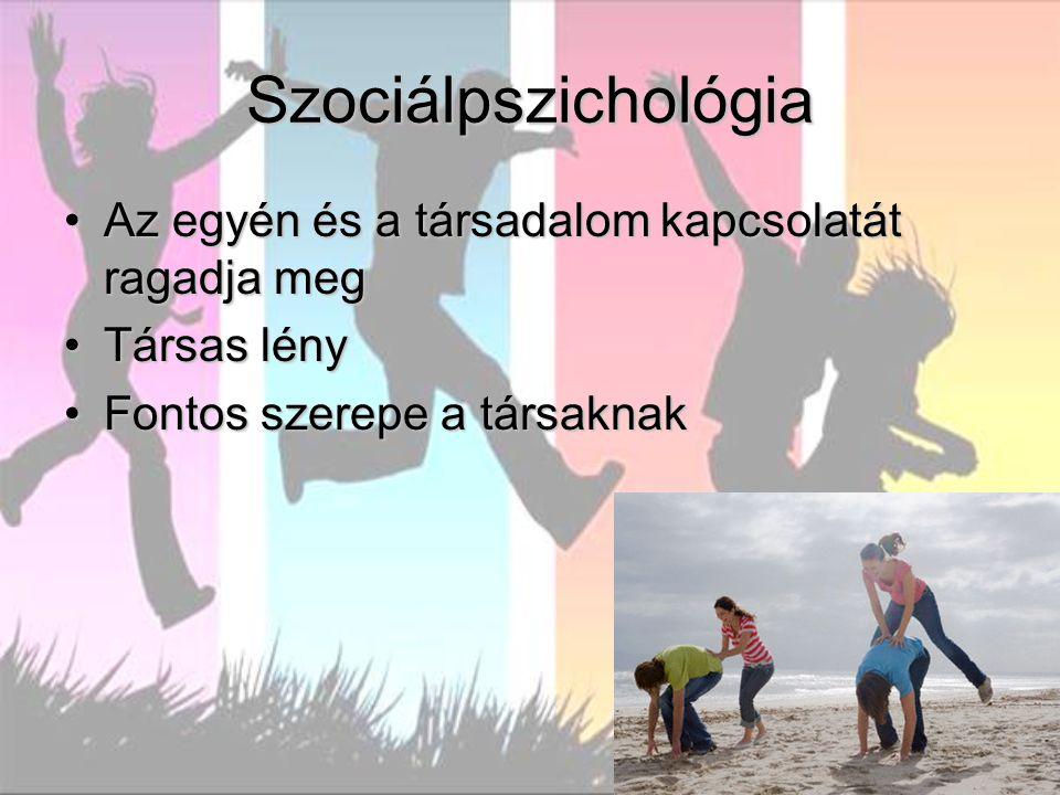 Szociálpszichológia Az egyén és a társadalom kapcsolatát ragadja megAz egyén és a társadalom kapcsolatát ragadja meg Társas lényTársas lény Fontos sze