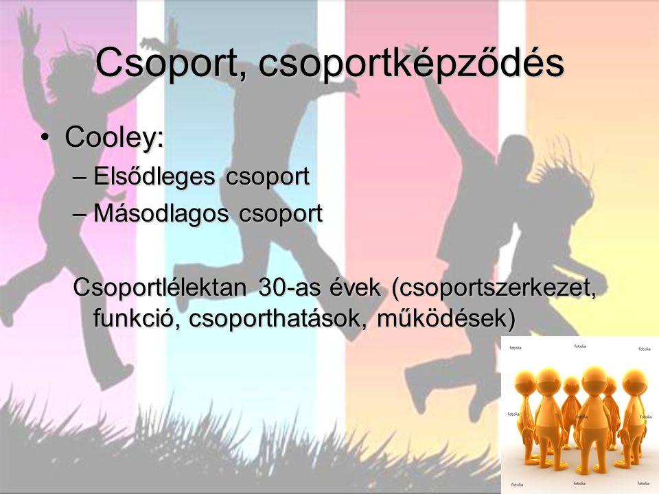Csoport, csoportképződés Cooley:Cooley: –Elsődleges csoport –Másodlagos csoport Csoportlélektan 30-as évek (csoportszerkezet, funkció, csoporthatások, működések)