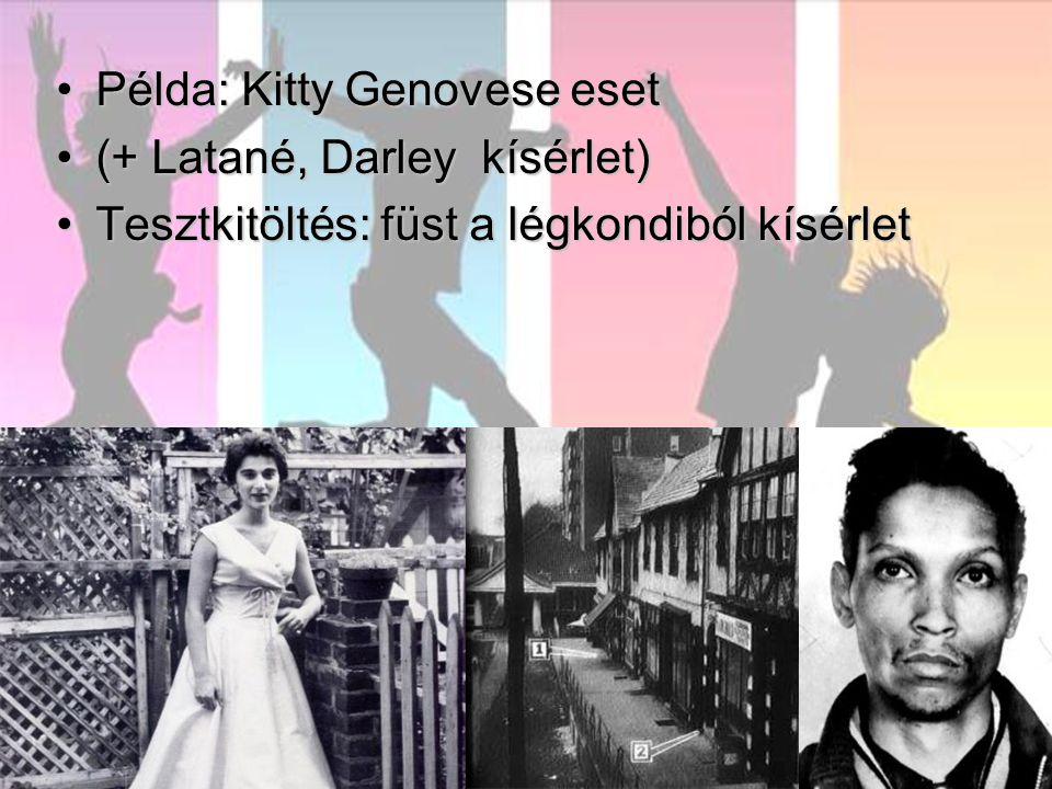 Példa: Kitty Genovese esetPélda: Kitty Genovese eset (+ Latané, Darley kísérlet)(+ Latané, Darley kísérlet) Tesztkitöltés: füst a légkondiból kísérletTesztkitöltés: füst a légkondiból kísérlet
