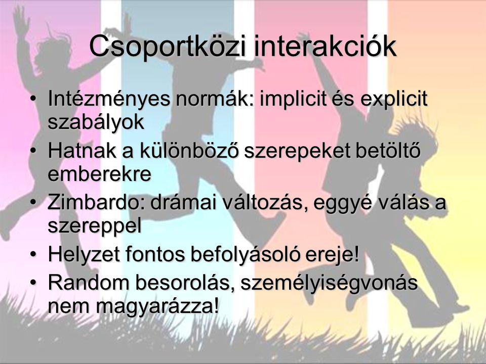 Csoportközi interakciók Intézményes normák: implicit és explicit szabályokIntézményes normák: implicit és explicit szabályok Hatnak a különböző szerep
