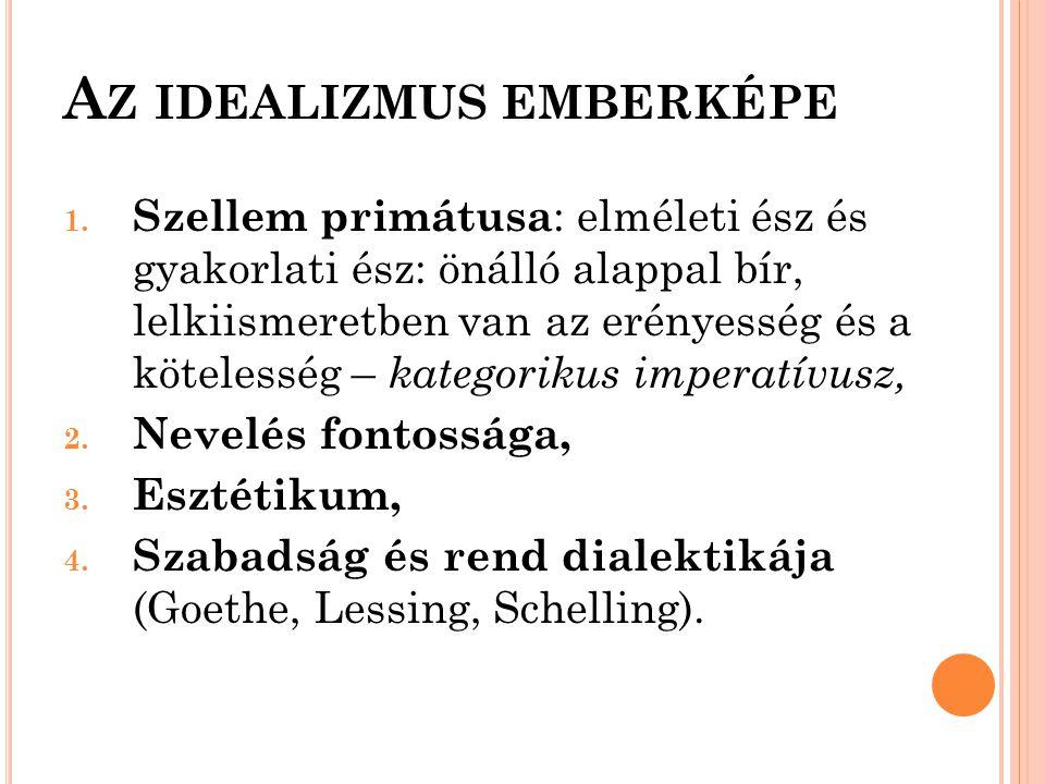 A Z IDEALIZMUS EMBERKÉPE 1. Szellem primátusa : elméleti ész és gyakorlati ész: önálló alappal bír, lelkiismeretben van az erényesség és a kötelesség