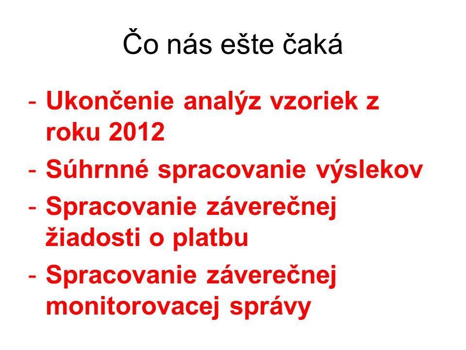 Čo nás ešte čaká -Ukončenie analýz vzoriek z roku 2012 -Súhrnné spracovanie výslekov -Spracovanie záverečnej žiadosti o platbu -Spracovanie záverečnej monitorovacej správy