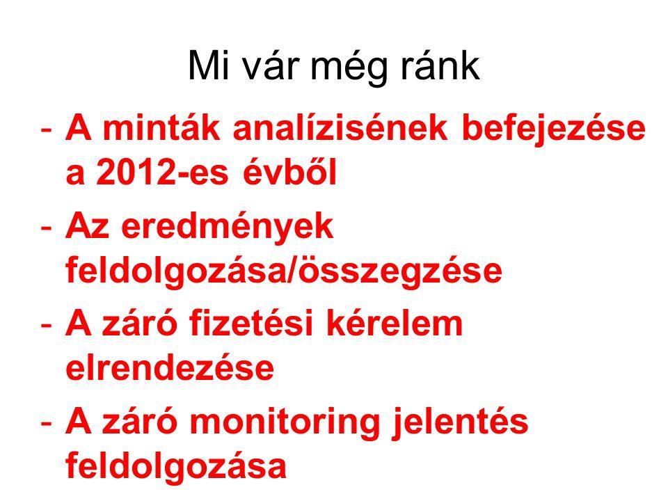 Mi vár még ránk -A minták analízisének befejezése a 2012-es évből -Az eredmények feldolgozása/összegzése -A záró fizetési kérelem elrendezése -A záró monitoring jelentés feldolgozása