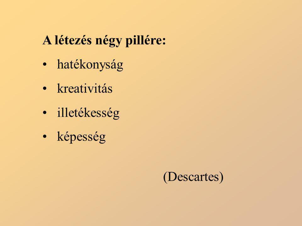 A létezés négy pillére: hatékonyság kreativitás illetékesség képesség (Descartes)