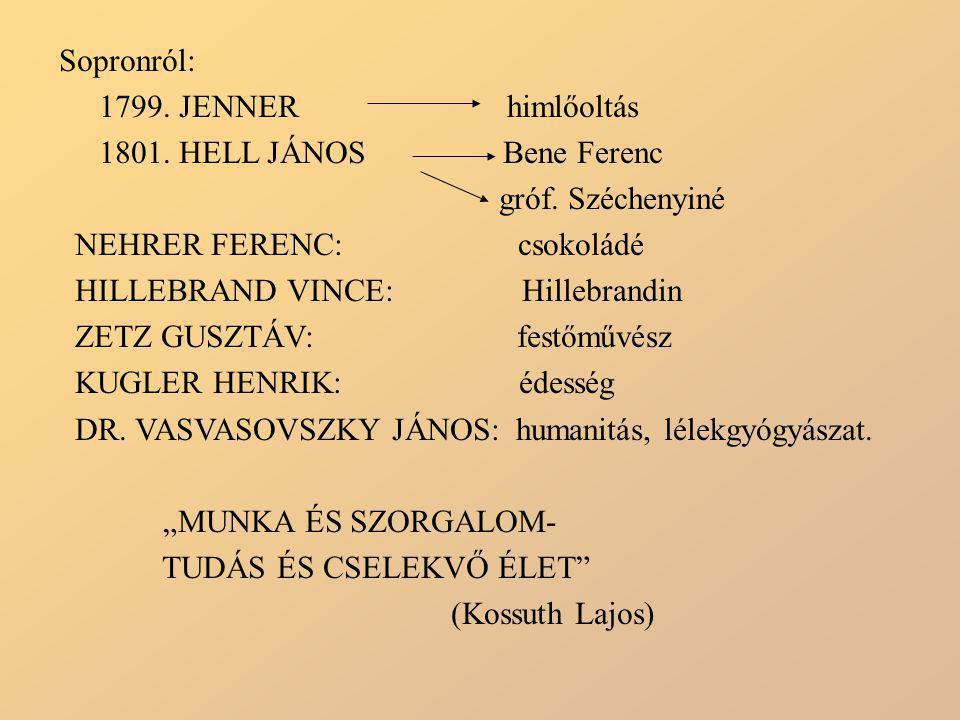 Sopronról: 1799. JENNER himlőoltás 1801. HELL JÁNOS Bene Ferenc gróf. Széchenyiné NEHRER FERENC: csokoládé HILLEBRAND VINCE: Hillebrandin ZETZ GUSZTÁV